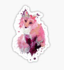 Pastel Pink Watercolor Fox Sticker
