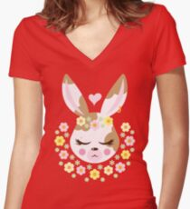 Flower Bun Women's Fitted V-Neck T-Shirt