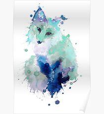 Ice Blue Watercolour Fox Poster