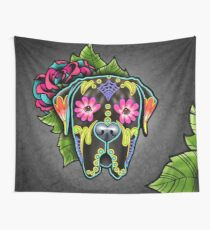 Mastiff in Brindle - Day of the Dead Sugar Skull Dog Wall Tapestry