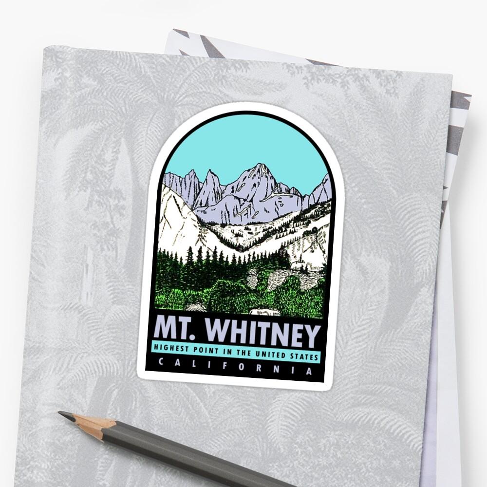 Calcomanía de viaje vintage de Mount Whitney, California Pegatina