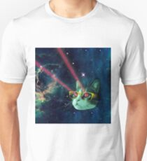 Laser cat with glasses in space Unisex T-Shirt