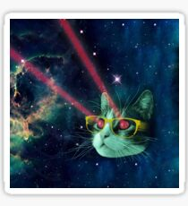 Laser cat with glasses in space Sticker