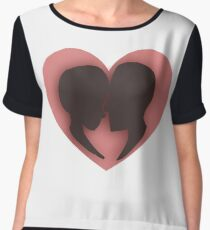 Pink/red couple heart valentines  Chiffon Top