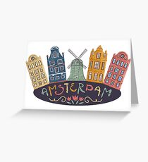 Amsterdam. Old historic buildings and traditional architecture of Netherlands. Windmill and houses with hand drawn lettering. Greeting Card