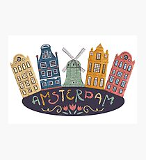 Amsterdam. Old historic buildings and traditional architecture of Netherlands. Windmill and houses with hand drawn lettering. Photographic Print