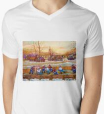 HOCKEY GAME IN THE VILLAGE CANADIAN WINTER SCENE PAINTING BY CANADIAN ARTIST CAROLE SPANDAU T-Shirt