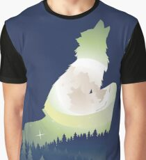 Wolf Howling with Forest 4 Graphic T-Shirt