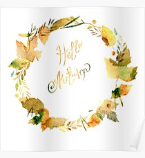 Autumn watercolor frame  Poster
