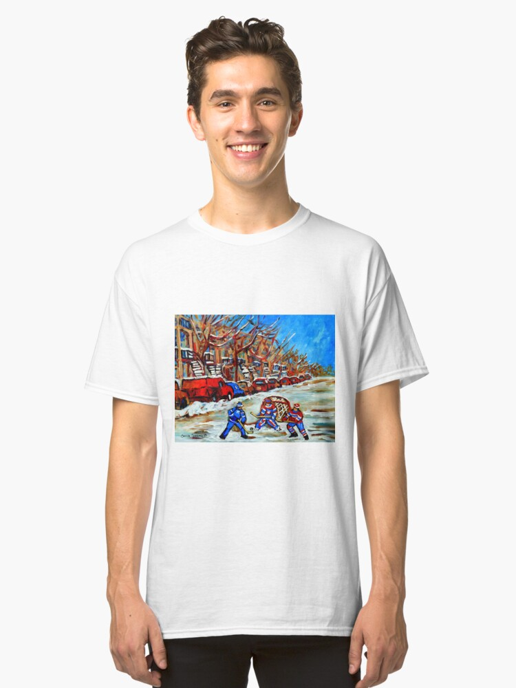 STREET HOCKEY ART CANADIAN PAINTINGS BY CANADIAN ARTIST CAROLE SPANDAU Classic T-Shirt Front