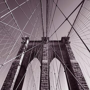 Brooklyn bridge - travel, city, architecture, new york, construction, metropolitan, downtown, pink by JuliaRokicka
