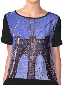 Brooklyn bridge 2 - travel, city, architecture, new york, construction, metropolitan, downtown, blue Chiffon Top