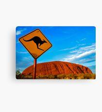 Uluru and a Kangaroo Canvas Print