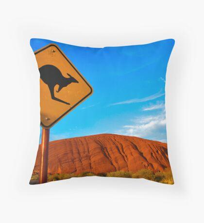 Uluru and a Kangaroo Throw Pillow