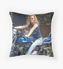 big blue vibrator Throw Pillow