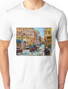 PAINTINGS OF OLD PORT MONTREAL CANADIAN ART BY CANADIAN ARTIST CAROLE SPANDAU Unisex T-Shirt
