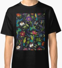 Hummingbirds and Passionflowers - Cloisonne on Black - pretty floral bird pattern by Cecca Designs Classic T-Shirt