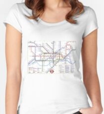 """London Underground """"tube map"""" Women's Fitted Scoop T-Shirt"""