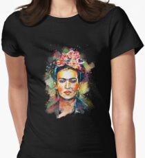 Frida Kahlo (dunkle Ausgabe) Tailliertes T-Shirt für Frauen