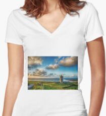 Doolin Castle Sunset Landscape County Clare Ireland Women's Fitted V-Neck T-Shirt