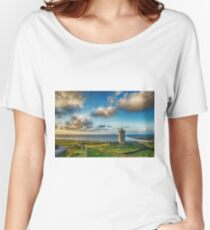 Doolin Castle Sunset Landscape County Clare Ireland Women's Relaxed Fit T-Shirt