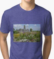 Quin Abbey County Clare Ireland Landmark Scenic Landscape Tri-blend T-Shirt