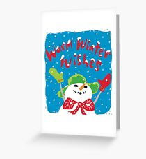 Snowboy's warm winter wishes Greeting Card