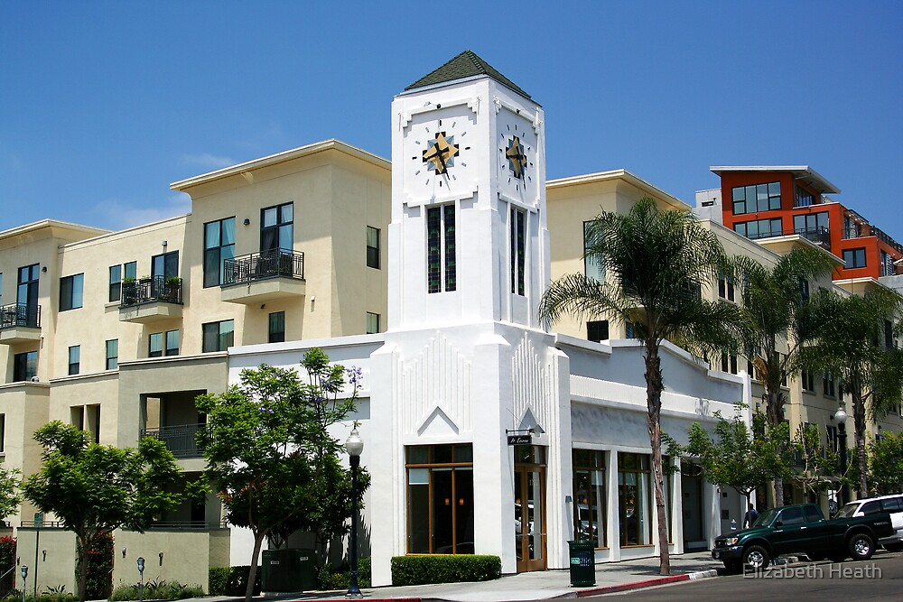 Clock building in Little Italy, San Diego by Elizabeth Heath