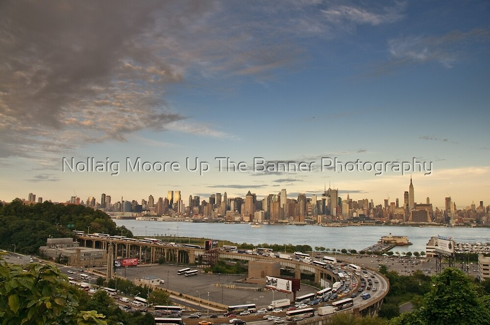 New York City Skyline over hudson river, NYC. by Noel Moore Up The Banner Photography