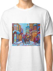 OLD MONTREAL WINTER CITY SCENES CANADIAN ARTIST CAROLE SPANDAU Classic T-Shirt