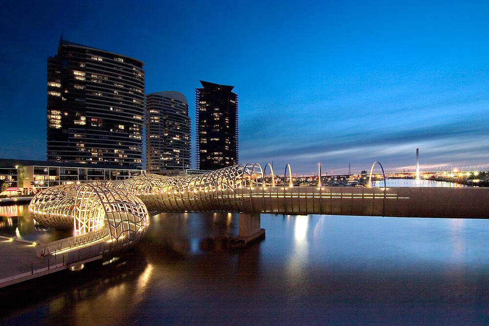 Webb Bridge at twilight by Enrico Bettesworth