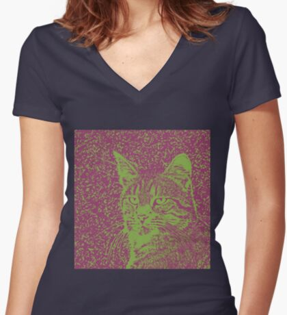 Portrait of cat, ninja Cat Sensei. 8-bit. Fitted V-Neck T-Shirt