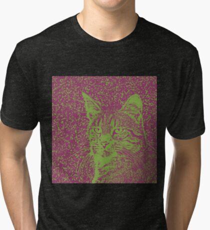 Portrait of cat, ninja Cat Sensei. 8-bit. Tri-blend T-Shirt