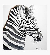 STRIPED - ZEBRA - WATERCOLOUR AND INK Photographic Print