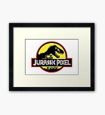 Jurassic Pixel (Yellow) Framed Print