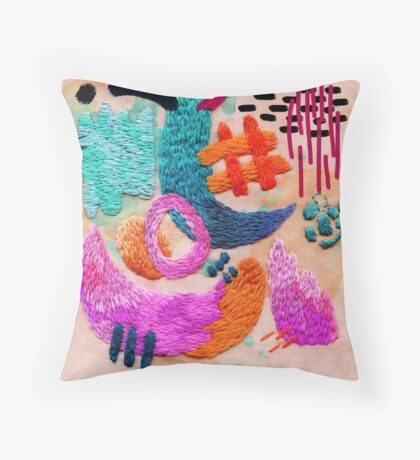 abstract embroidery Throw Pillow