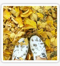 Yellow leaves, white shoes Sticker