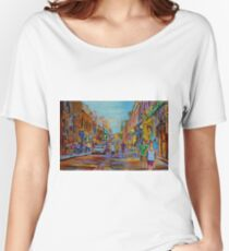 PAINTINGS OF THE OLD CITY OF MONTREAL CANADIAN URBAN SCENES BY CANADIAN ARTIST CAROLE SPANDAU Women's Relaxed Fit T-Shirt