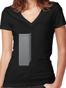 Glitch Groddle Land cubicle wall left Women's Fitted V-Neck T-Shirt