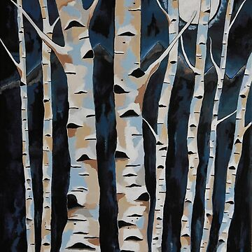 Moonlight And The Birch - Contemporary Landscape by kathlesa