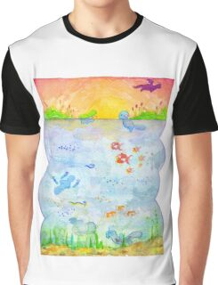 Pokemon - Sunset Lake Graphic T-Shirt