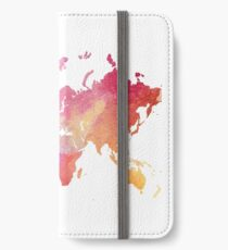 World Map with Watercolor Wash iPhone Wallet/Case/Skin