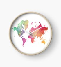 World Map with Watercolor Wash Clock