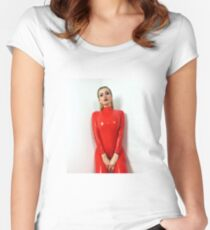 Miss Beyla Hughes Latex Leder PVC Fetisch Model Women's Fitted Scoop T-Shirt