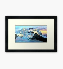 To Change The World Inspirational Tibetan Proverb With Panoramic View Of Everest Mountain Painting Framed Print