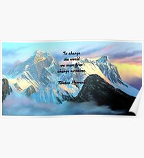 To Change The World Inspirational Tibetan Proverb With Panoramic View Of Everest Mountain Painting Poster
