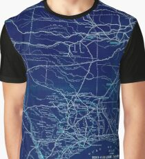 0373 Railroad Maps Map of the Rio Grande and Pecos Railway showing its connections with the Texas Mexican Texas Mexican Short Line Mexican National Texas St Louis and Denver Inverted Graphic T-Shirt