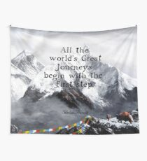 All the world's Great Journeys Motivational Tibetan Proverb With Panoramic View Of Everest Mountain Painting Wall Tapestry