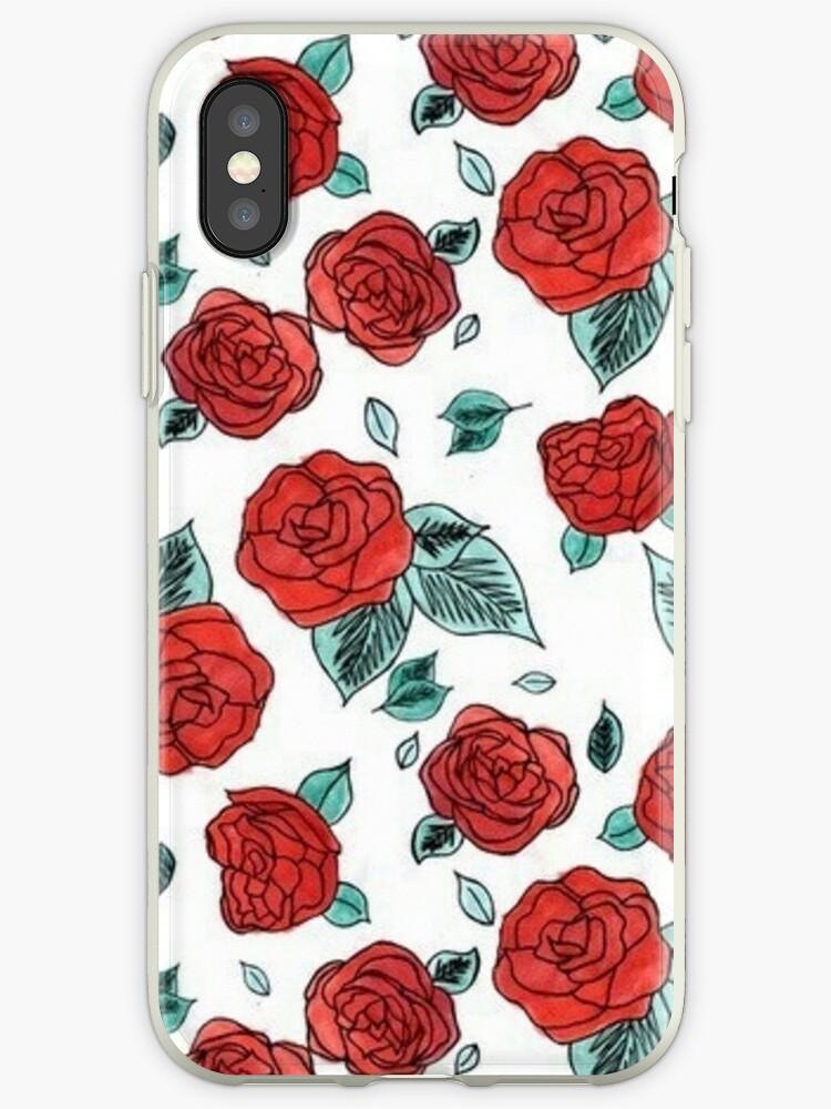 \u0027Indie/Boho Red Rose/Floral Aesthetic\u0027 iPhone Case by arealprincess