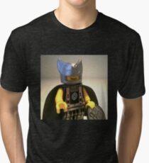Captain Vortex in Black & Silver Costume and Cape Tri-blend T-Shirt
